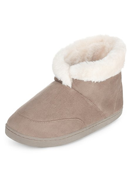 Faux Fur Cuffed Bootie Slippers