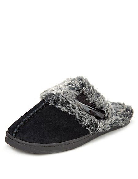 Secret Support Suede Faux Fur Toggle Clog Slippers M S