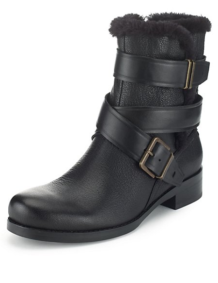 Leather Strap Biker Boots with Insolia Flex®