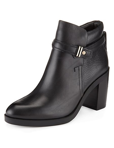 Leather Ankle Strap Boots with Insolia®