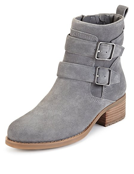 Suede Biker Boots with Insolia Flex®