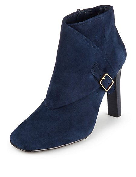 Suede Stain Away™ Square Toe Foldover Ankle Boots with Insolia®