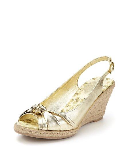 Peep Toe Knot Espadrille Wedge Shoes