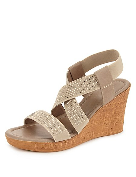 Stud Embellished Elastic Wedge Sandals