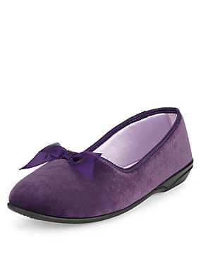 V-Throat Bow Ballerina Slippers, DARK PURPLE, catlanding