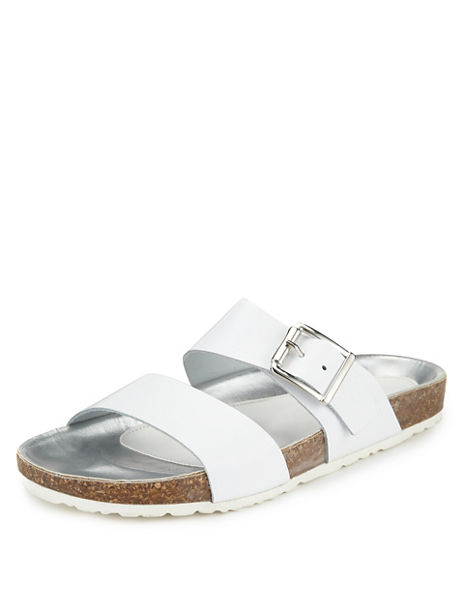 Leather Two Band Slide Buckle Mule Sandals