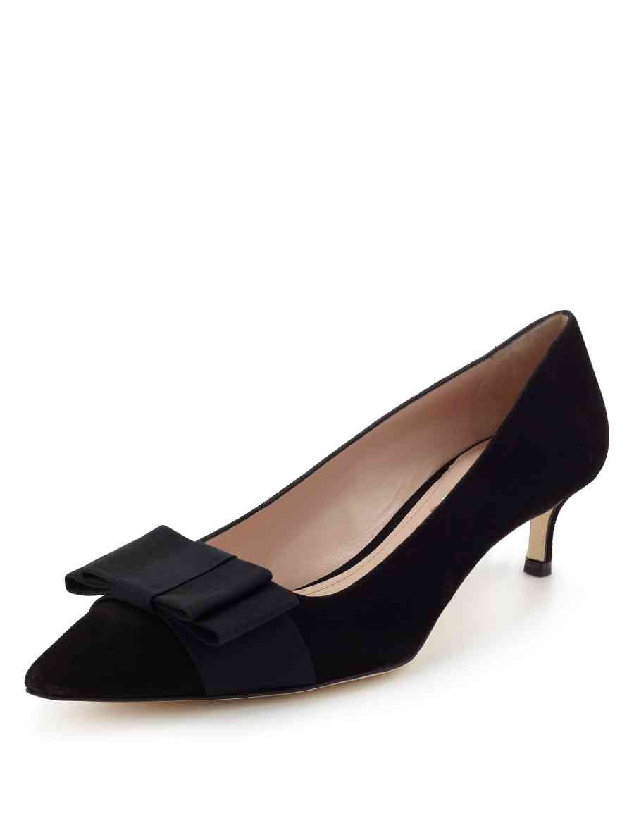 683e652d102 Made in Italy Suede Pointed Bow Toe Court Shoes