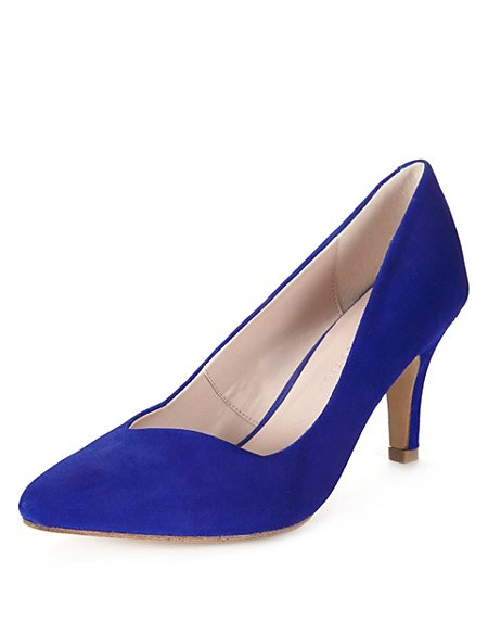 Suede Pointed Toe Court Shoes with Insolia®