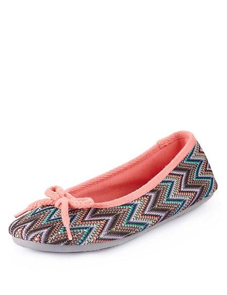 Aztec Print Ballerina Slippers