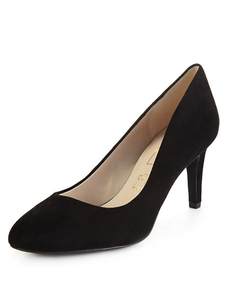 Suede Mid Heel Court Shoes with Insolia®