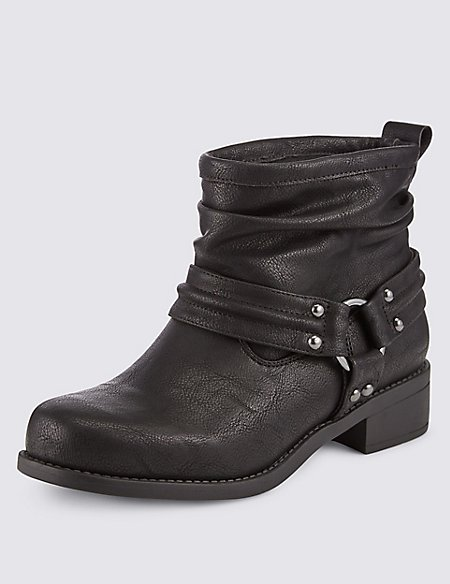 Ruched Biker Ankle Boots with Insolia Flex®