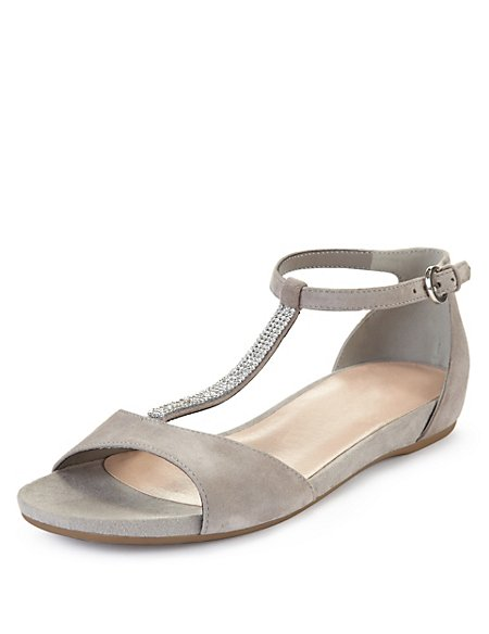 Suede Gem Embellished T-Bar Sandals with Stain Away™