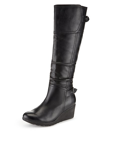 5bef08b1d6a Product images. Skip Carousel. Leather Wedge Heel Knee Boots ...