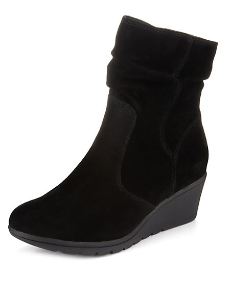 Suede Mid Wedge Boots with Stain Away™