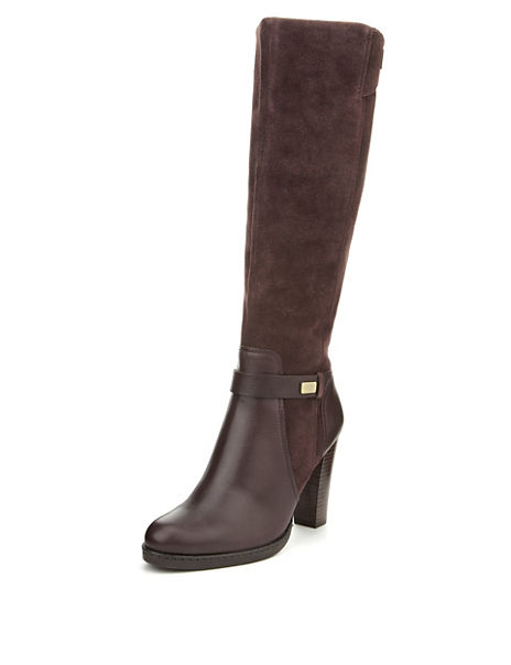 f0d1169226d5a Leather Wide Fit Panelled Long Biker Boots with Insolia® & Stretch Zip
