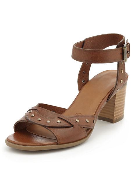 Leather Studded Sandals with Insolia®