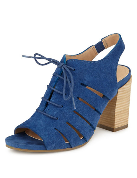 Suede Cut-Out Peep Lace Up Heeled Sandals with Insolia®