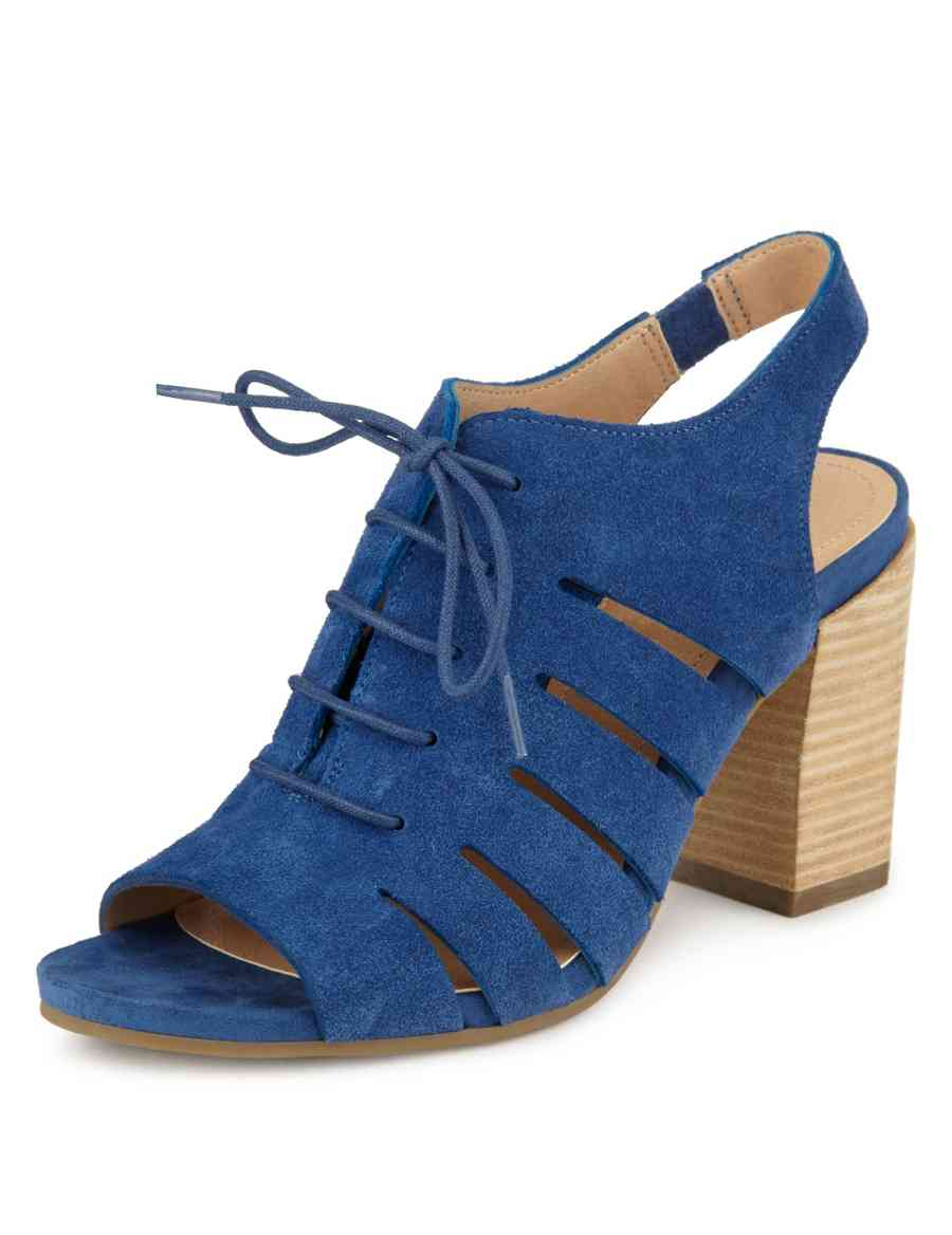 ba9122d60bb5 Suede Cut-Out Peep Lace Up Heeled Sandals with Insolia®