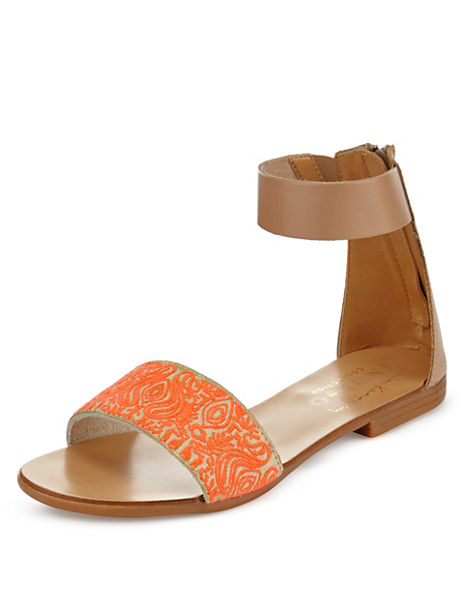 Embroidered Two Part Sandals