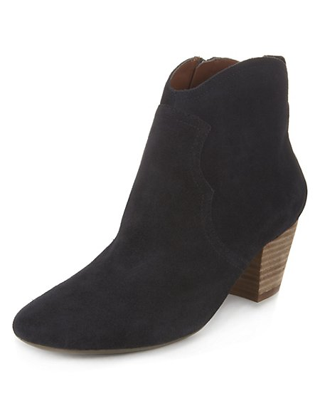 Suede Western Ankle Boots with Insolia®