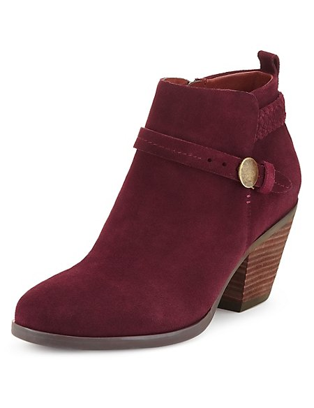 Stain Away™ Suede Square Toe Ankle Boots with Insolia®