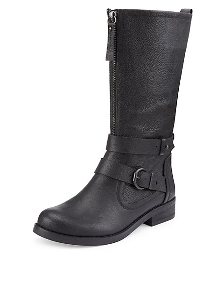 Leather Front Zip Buckle Biker Boots with Insolia Flex®