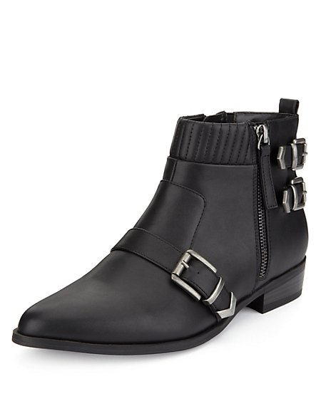 Triple Buckle Ankle Boots with Insolia®