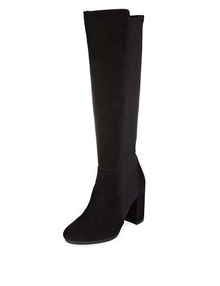 Faux Suede Stretch Block Heel Knee High Boots with Insolia®