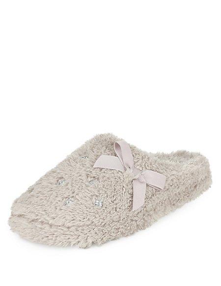 Diamanté Mule Slippers