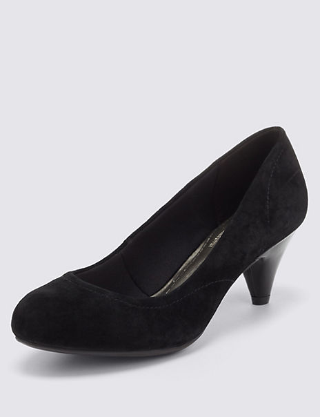 Suede Stitched Court Shoes with Insolia®