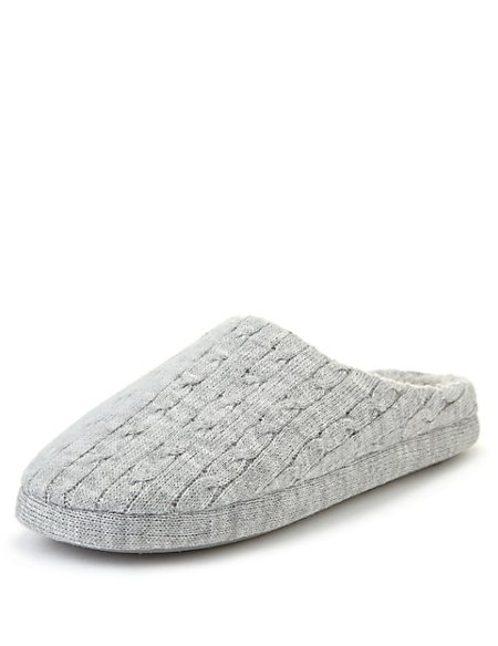 Cable Knit Mule Slippers Per Una Ms