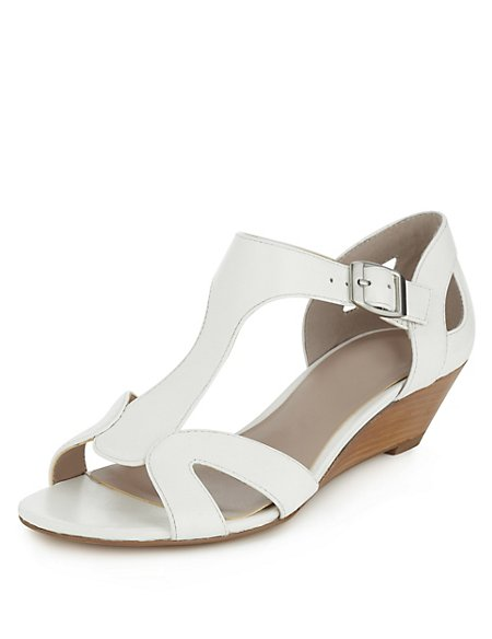 Leather Wide Fit Curved T-Bar Wedge Sandals