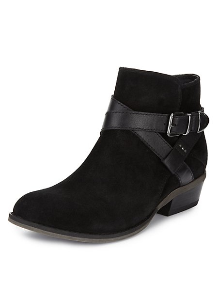 Suede Wide Fit Ankle Boots with Stain Away™