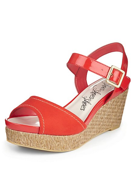 Peep Toe Wide Fit Two Part Wedge Sandals