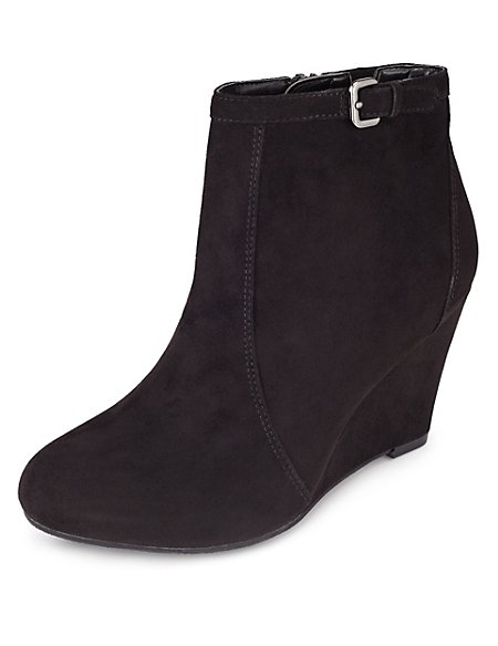 f0b104d3da1 Product images. Skip Carousel. Faux Suede Wide Fit Wedge Ankle Boots ...