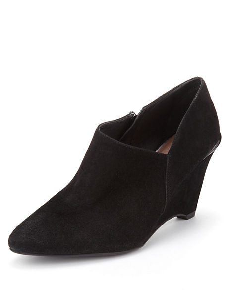 Suede Wedge Shoe Boots with Stainaway™