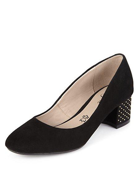 Suede Bead Embellished Heel Court Shoes