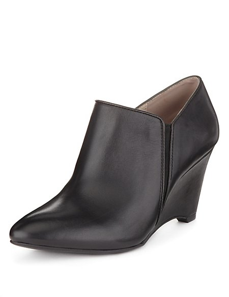 Leather Wedge Shoe Boots