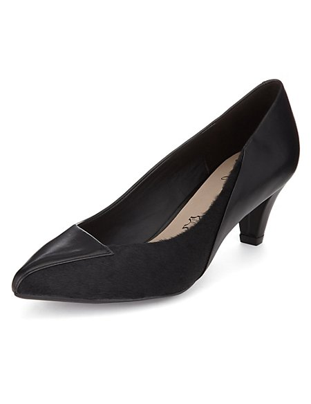 Leather Pointed Toe Court Shoes with Stain Away™