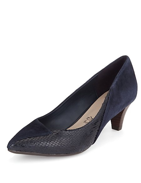 Leather Pointed Toe Court Shoes