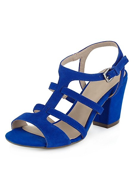 Suede Multiple Strap T-Bar Sandals
