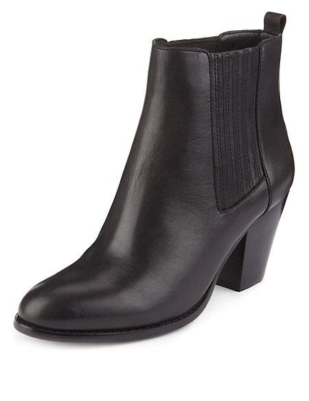Leather Mid Heel Chelsea Boots