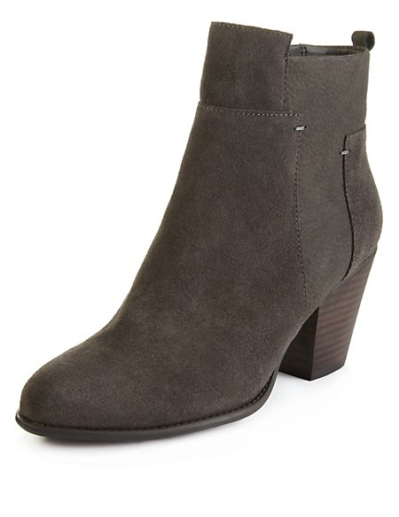 Suede Panelled Ankle Boots with Stain Away™