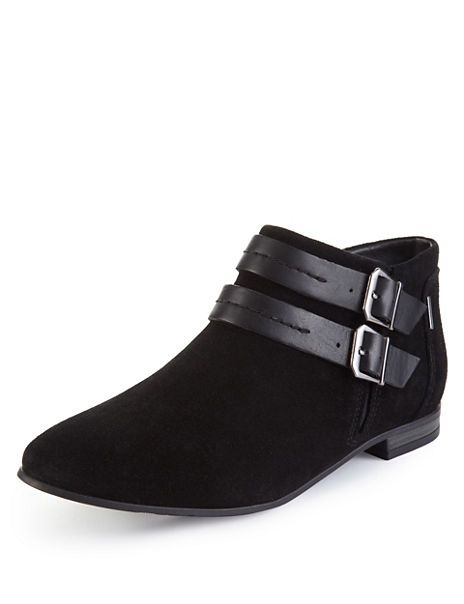 Suede Double Strap Chelsea Ankle Boots with Stain Away™