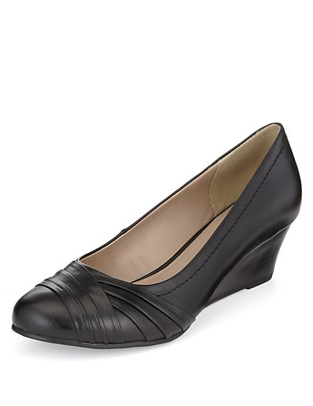 Leather Pleated Wedge Pumps