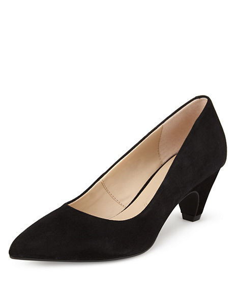 Stain Away™ Suede Pointed Toe Court Shoes