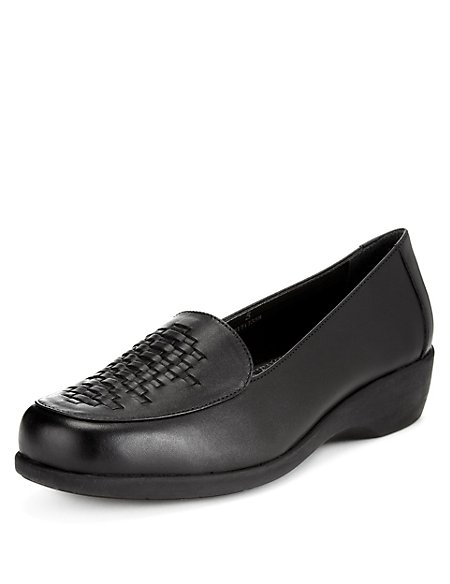 Leather Wide Fit Basket Weave Loafers