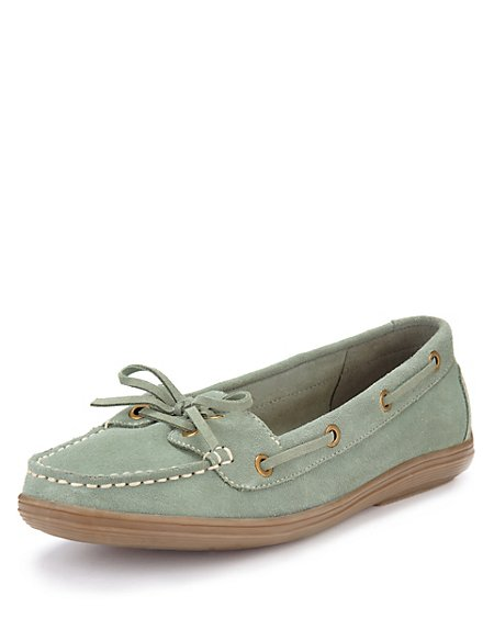 Suede Wide Fit Boat Shoes with Stain Away™