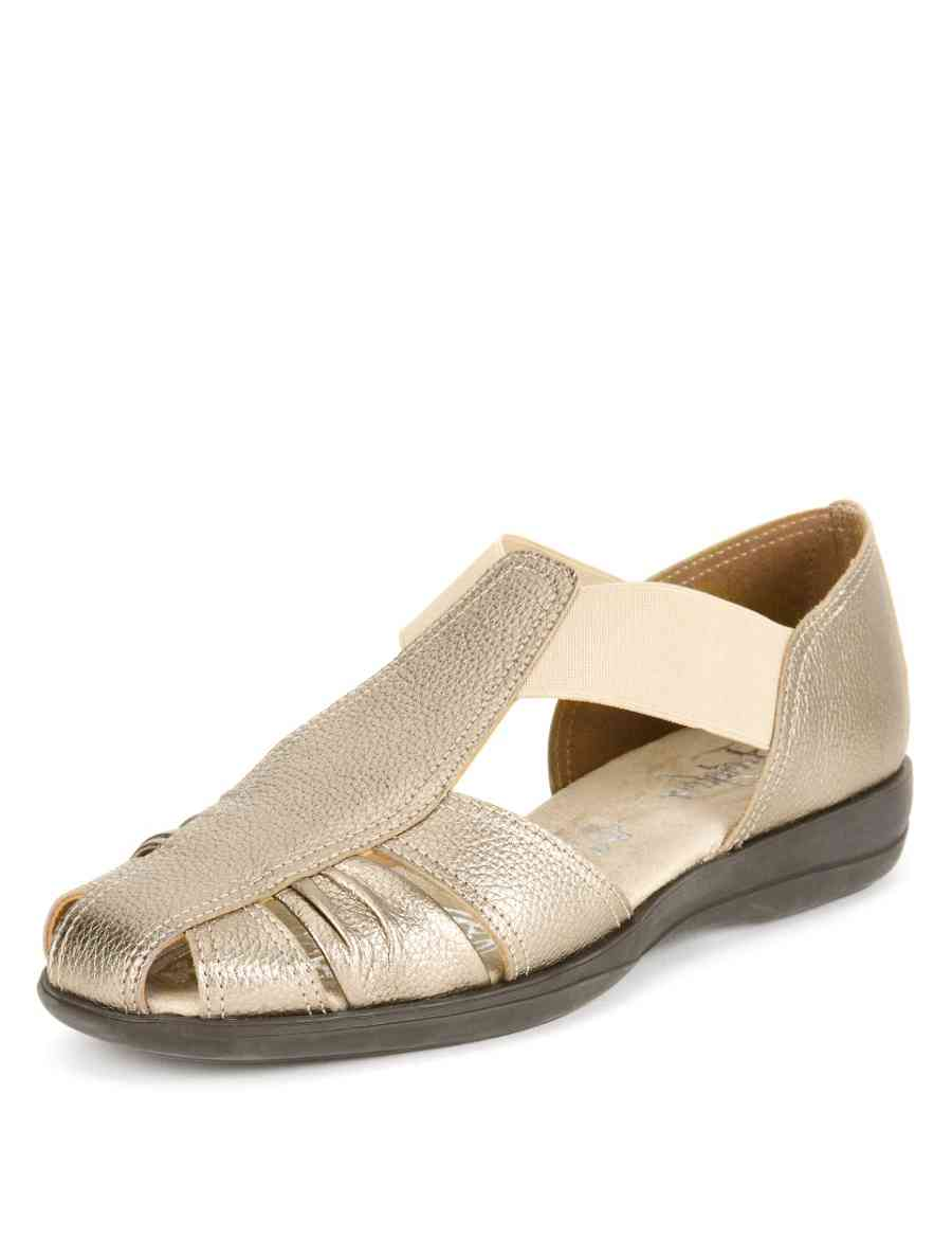 9684f5903ea Leather Wide Fit Elasticated Panel Sandals