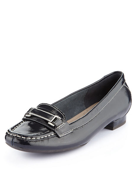 Leather Wide Fit Buckle Trim Moccasins